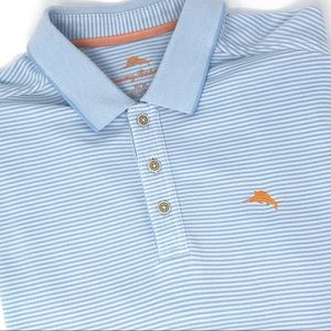 Tommy Bahama Emfielder Striped Polo *Chambray Blue